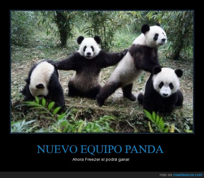 dragon ball,equipo,Freezer,panda,pose,risas