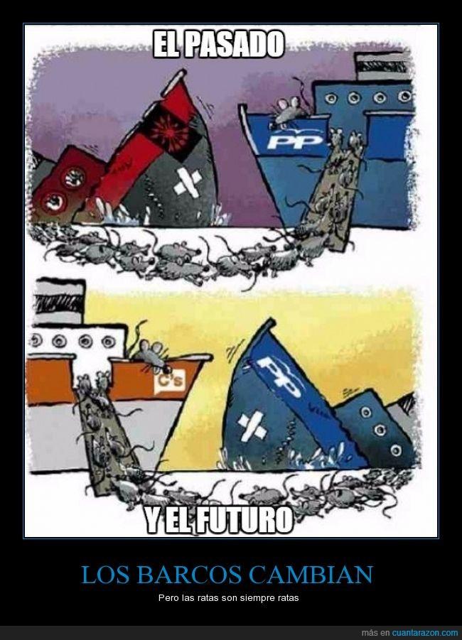 barco,c's,ciudadano's,derechas,El triangle,fascismo,fascista,franco,franquismo,hundir,partido popular,pp,ratas,viñeta