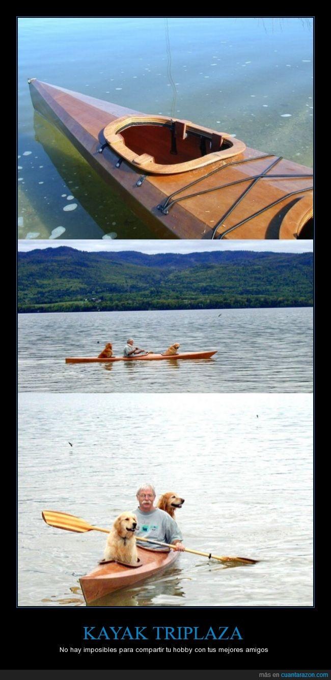 amigo,kayak,lago,mascota,perros,señor,tres