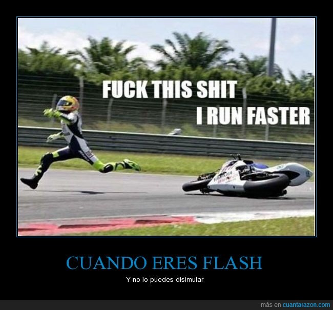 accidente,caer,correr,flash,moto,salir,saltar