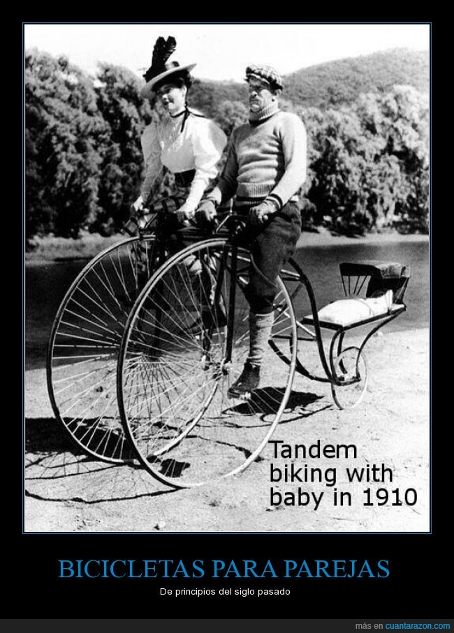 1910,Bicicleta,niño,pareja,tandem