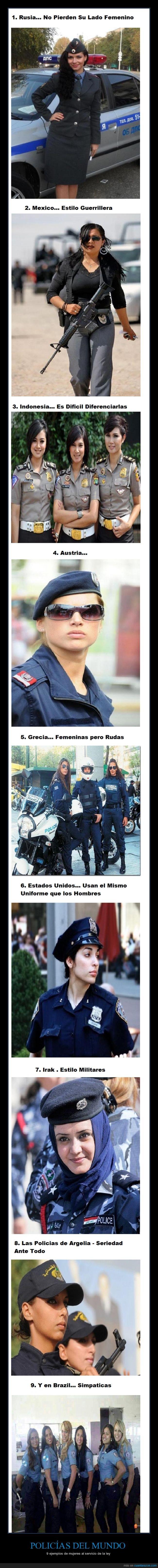 Argelia,Brasil,chicas,Estados unidos,Mexico,mujeres,países,Policías