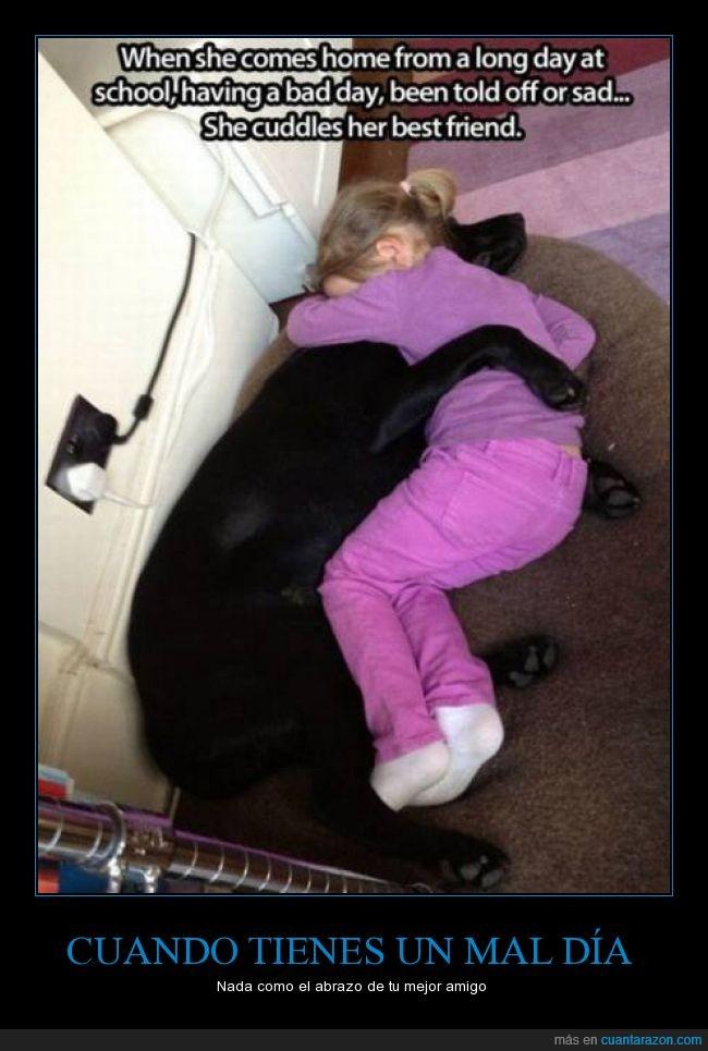 abrazar,abrazo,amor,chica,colegio,hija,niña,perrete,perro,suelo