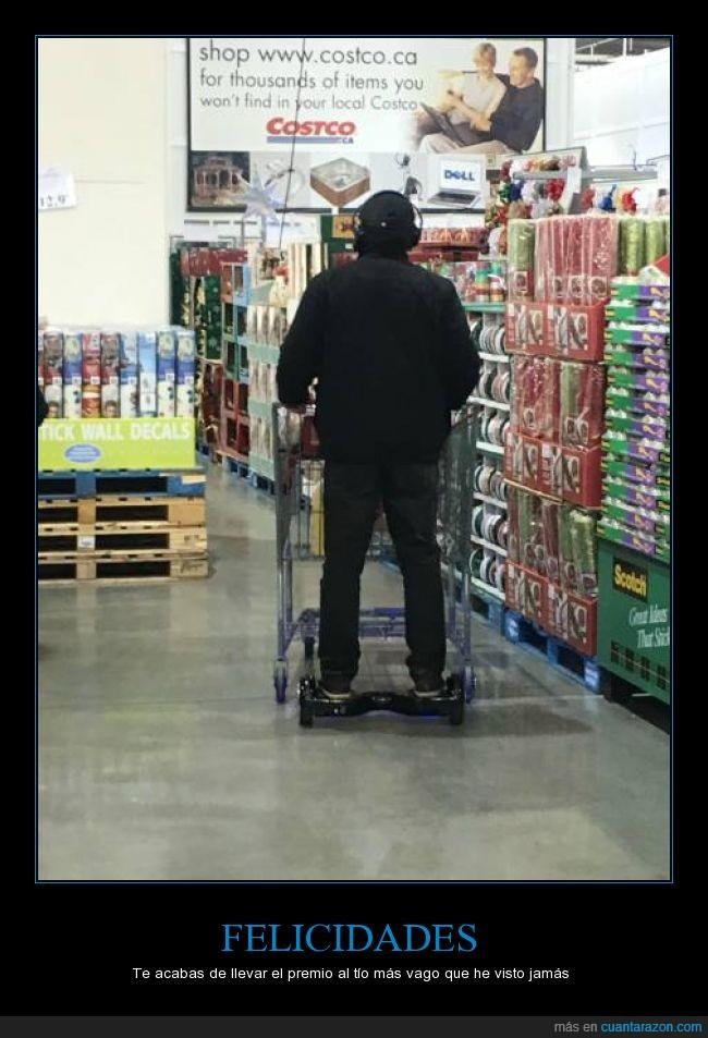 carrito,carro,comprar,compras,hoverboard,llevar,pereza,skate,smart scooter,supermercado,tienda,vago