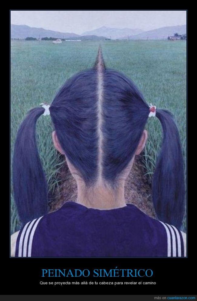 camino,ilusion,línea,marcado,Peinado,proyectar,raya,simétrico