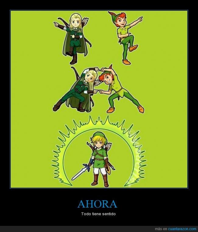 elfo,fusión,hijo,Legolas,Link,padre,Peter pan