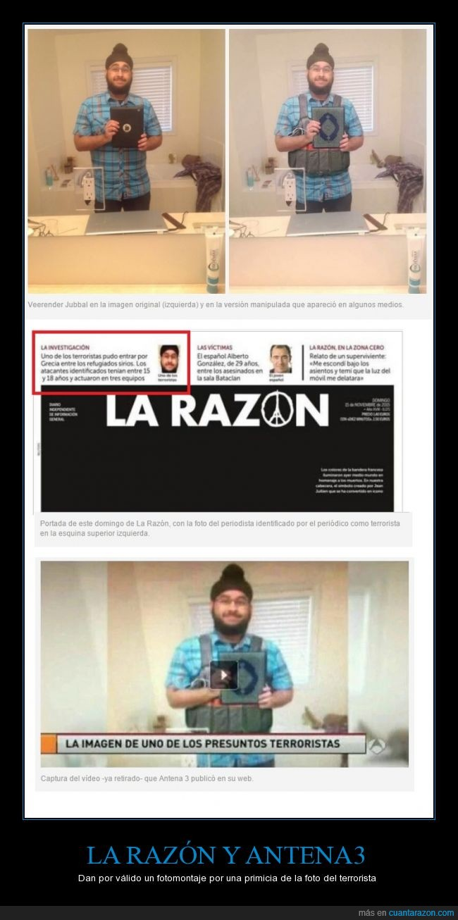 Antena3,atentado,fotomontaje,Grupo Planeta,La razón,terrorista,Veerender Jubbal