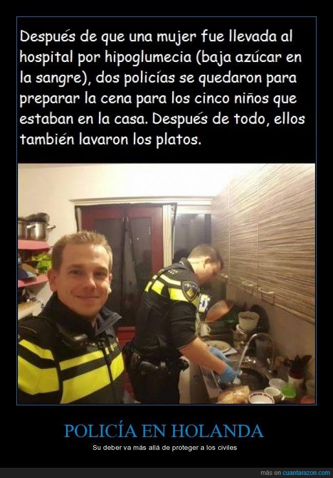 ayudar,cena,comida,hijos,hipoglucemia,Hospital,lavar,Mujer,Niños,Platos,Policia,Servicio