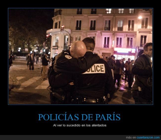 abrazo,emoción,lágrimas,llanto,llorando,llorar,París,policía,tristeza