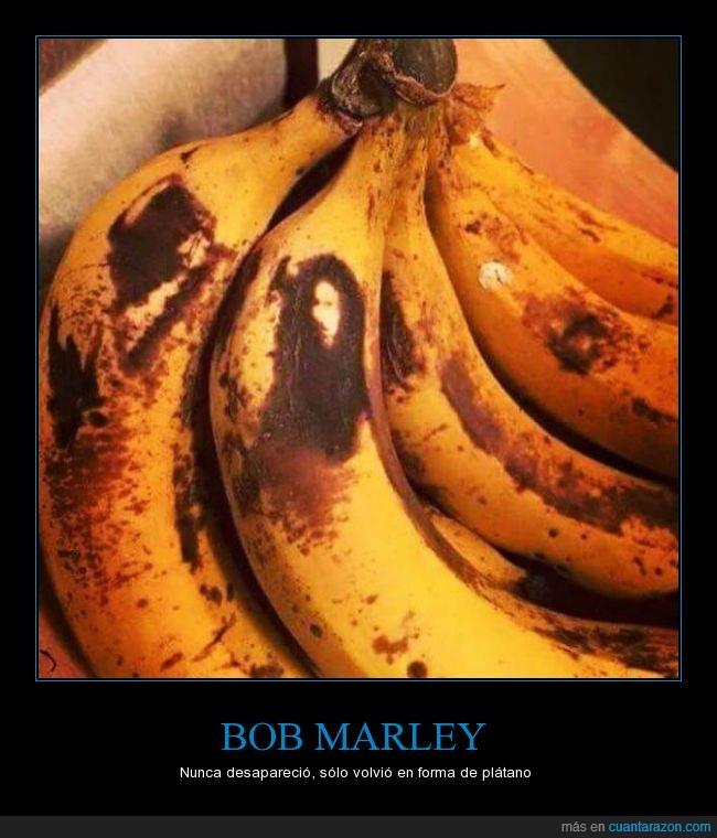 banana,bob marley,cara,caras de belmez en un plátano,maduro,plántano,pocho