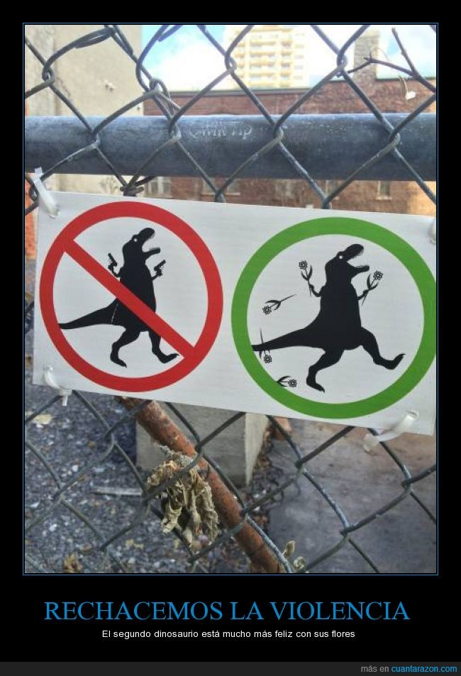 alegría,dinosaurio,feliz,flores,permitir,pistolas,prohibido,prohibir,t rex,t-rex,trex