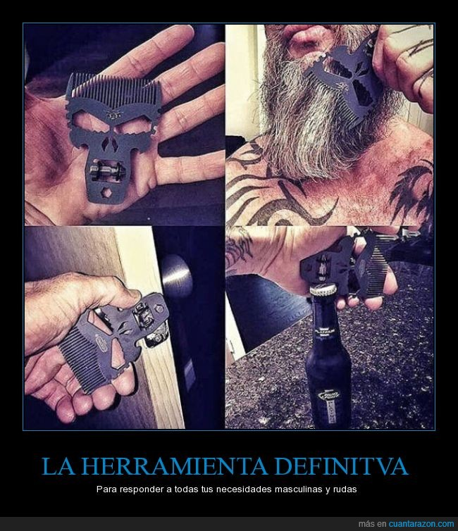 abrir,calavera,demonio,hombrem barba,peine,puerta,tornillo