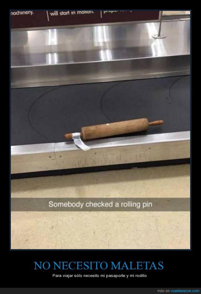 aeropuerto,check,cinta,cocina,cocinar,equipaje,maleta,rodillo,rolling pin