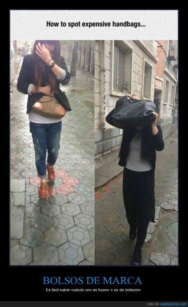 bolso,caro,cubrir,lluvia,marca,pagar,precio,tapar