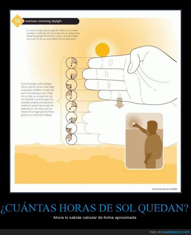dedo,hora,horizonte,mano,mirar,sol,suelo