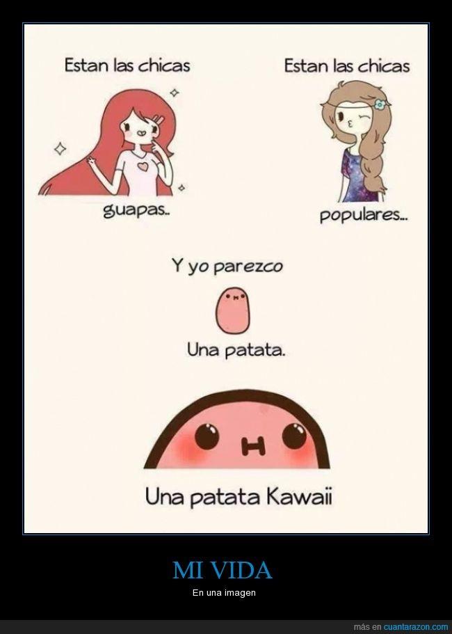 chica,diferencia,guapa,kawaii,mona,patata,popular