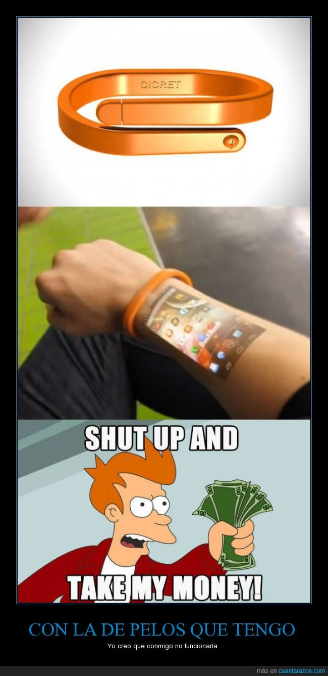 fry,holograma,movil,protector,pulsera,shut up and take my money,smartphone,telefono