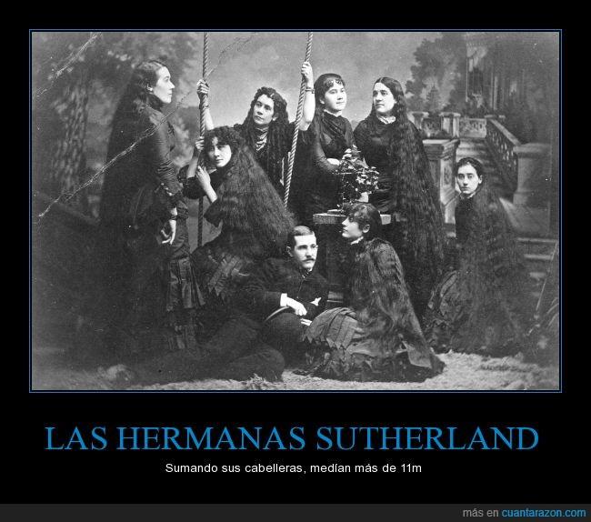 familia,hermana,largo,melena,pelo,Sutherland,victoriano