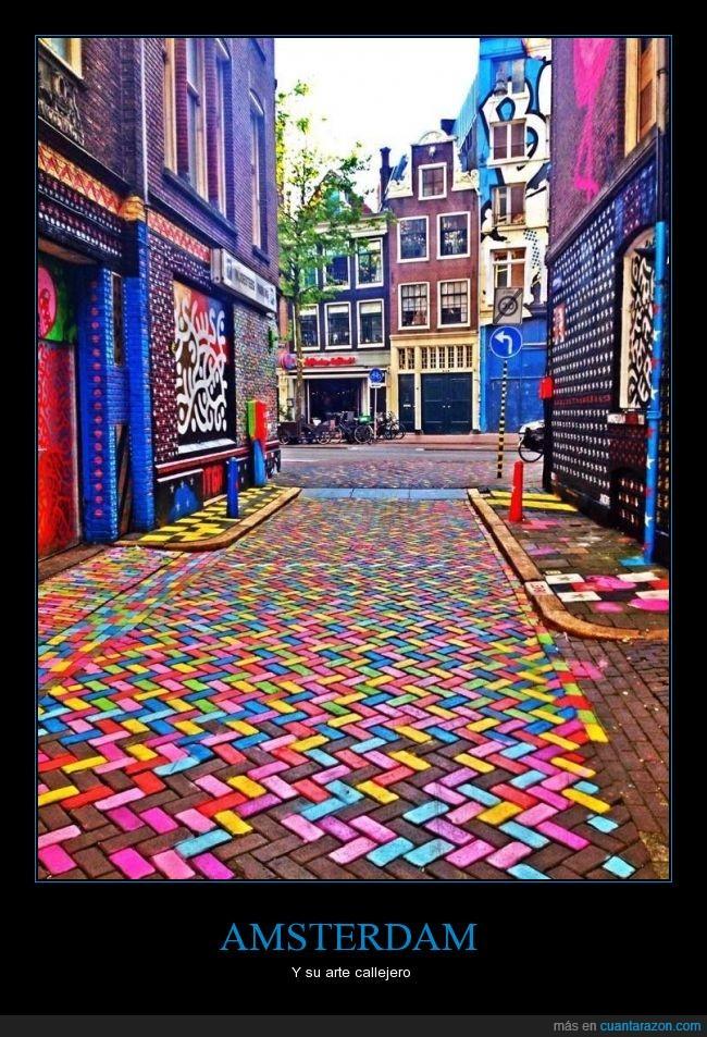 adoquines,Amsterdam,arte,bonito,calle,color,Holanda