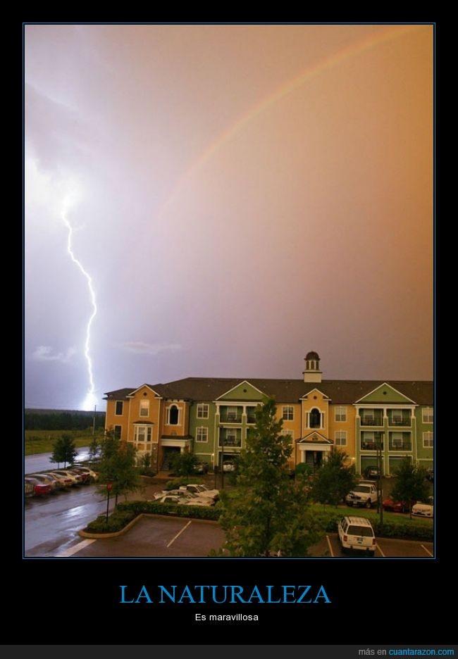 arcoíris,barrio,casa,exacto,momento,naturaleza,rayo