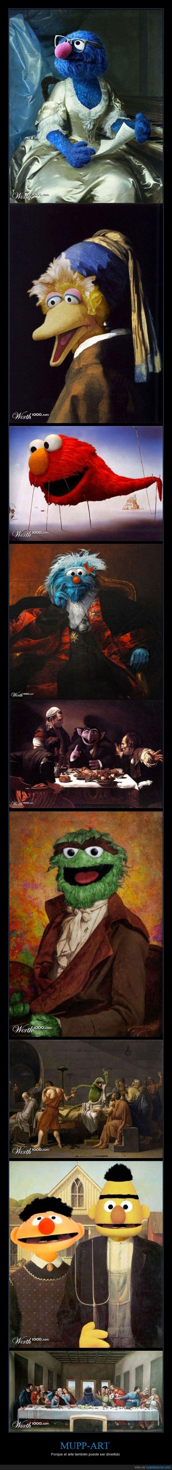Arte,barrio sesamo,clasico,coco,cuadro,Elmo,Epi y Blas,galletas,Muppets,pintores