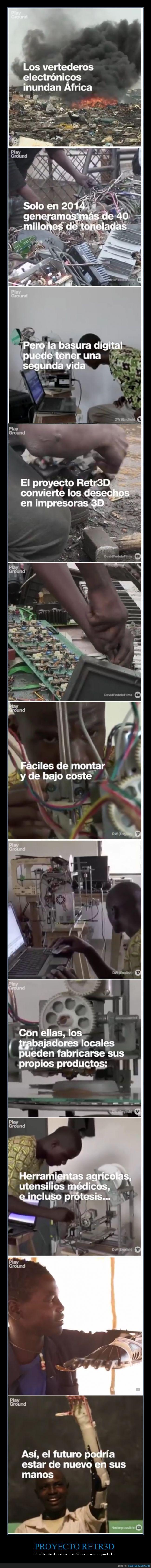 África,basura,deshecho,electrónica,hombre,ingeniero,máquina,ordenador,piezas,placas,prótesis,realidad,Retr3D,vertedero electrónico