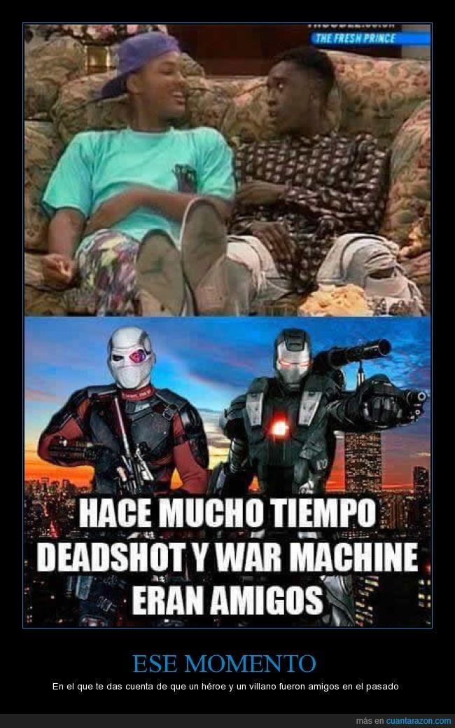 amigos,Deadshot,el principe de belair,iron man,war machine,will smith