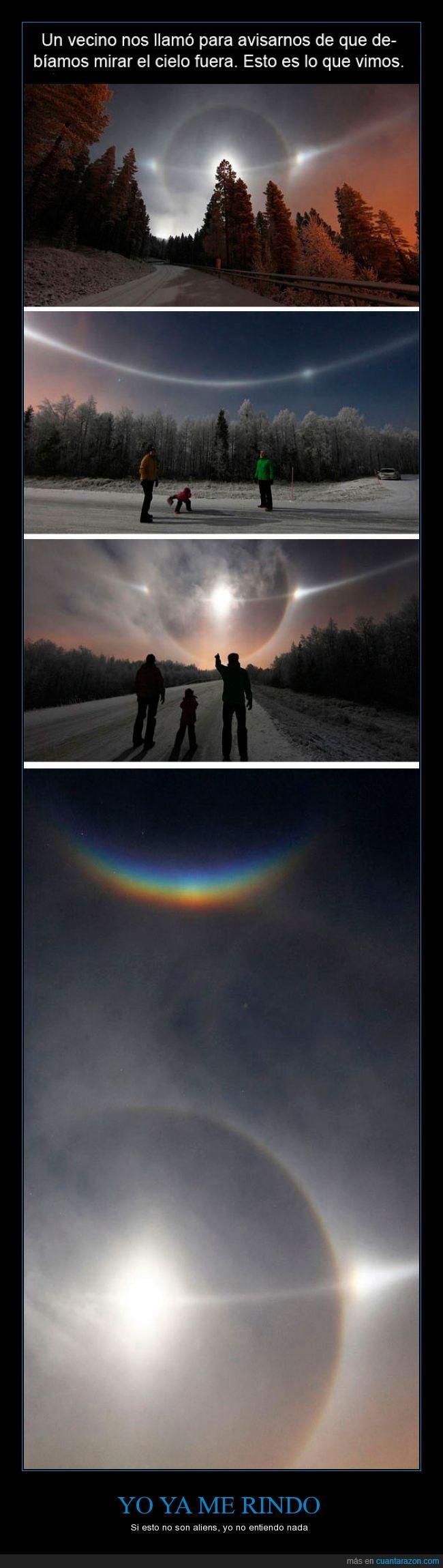 aliens,arcoíris,cielo,llamada,llamar,luz,noche,vecino