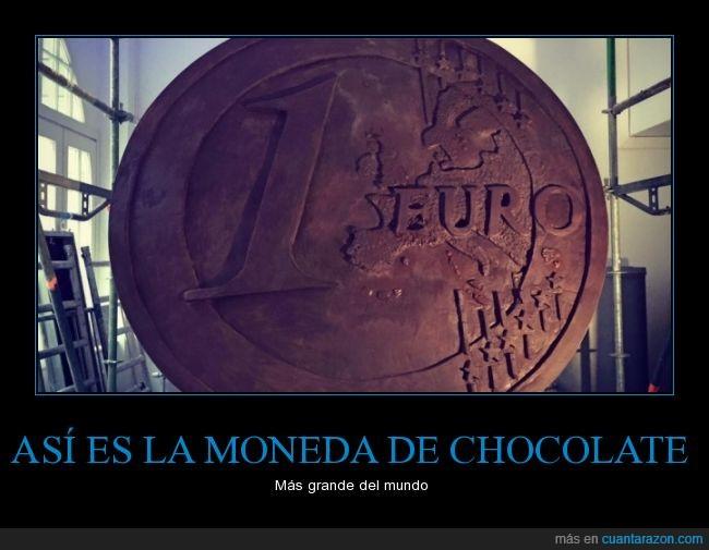 chocolate,chocolatina,euro,gigante,grande,moneda
