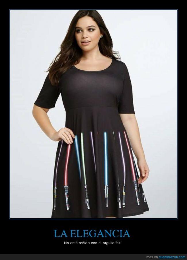 elegancia,falda friki,friki,moda,negro,sable laser,star wars,vestido