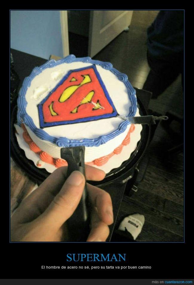 acero,cuchillo,pastel,romper,roto,superman,tarta