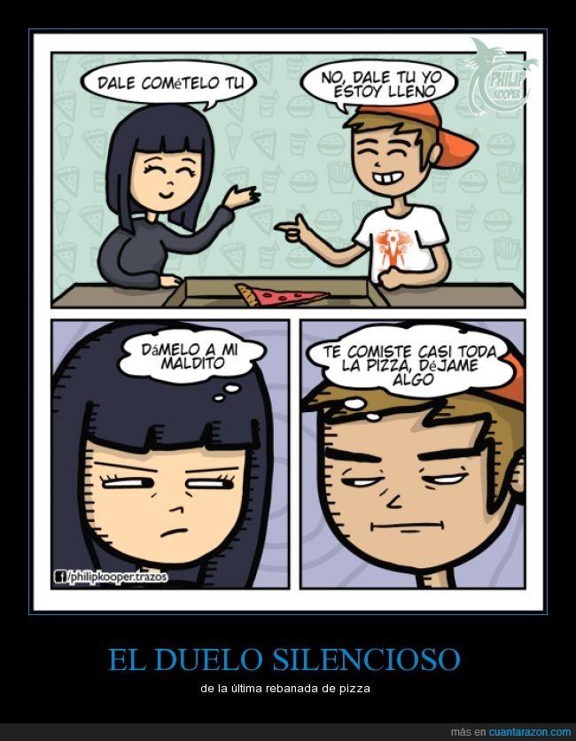 chica,chico,compartir,novia,novio,pareja,pedir,pizza,trozo,ultimo
