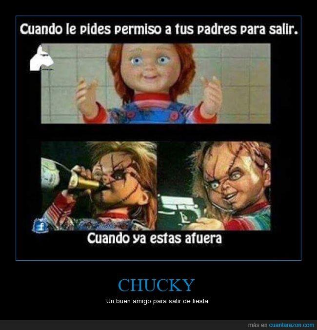 bueno,Chucky,fiesta,malo,muñeco,pedir,salir