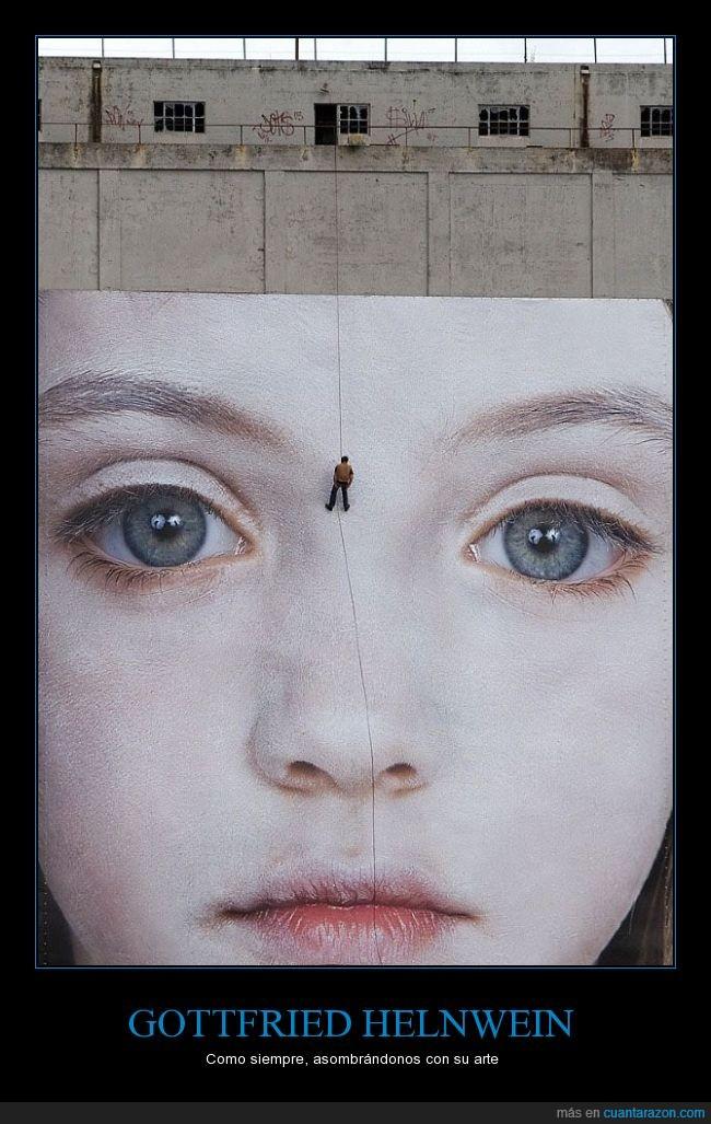 arte,cara,Gottfried Helnwein,grande,hiperralista,hiperrealismo,mural,niña,pared,talco