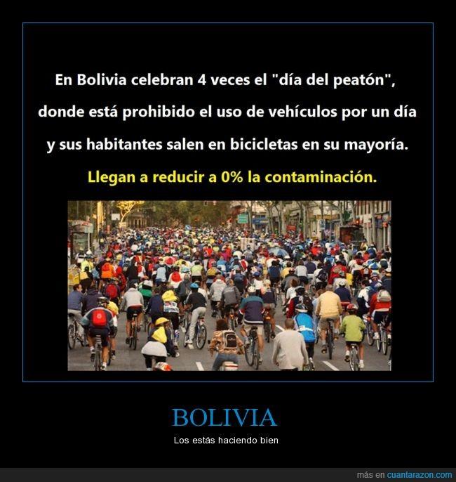 bicicleta,Bolivia,contaminación,día,emisiones,peaton,reducir