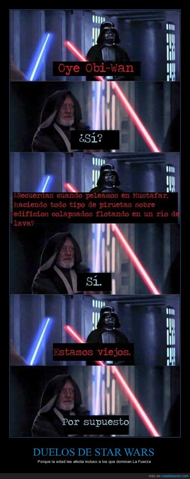 combate con sables,Darth Vader,edad,efectos,lightsaber,Obi Wan Kenobi,Star Wars,viejo