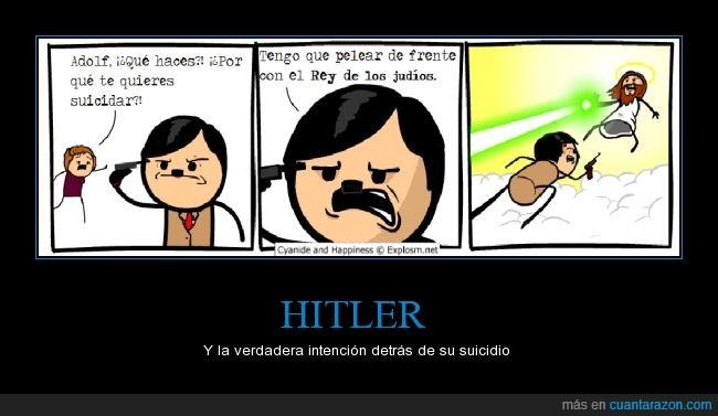 Adolf Hitler,cyanide and happiness,Jesús,judíos,nein nein nein,pistola,suicidio
