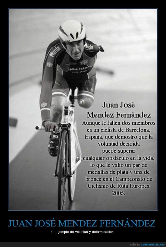 Barcelona,bicicleta,brazo,ciclista,Juan José Méndez Fernández,mano,pierna,voluntad