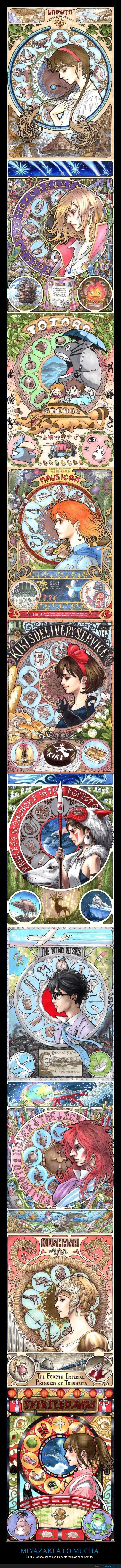 Alfons Mucha,El Castillo ambulante,el viaje de chihiro,Kiki,La princesa mononoke,Miyazaki,Nausicaa,Totoro