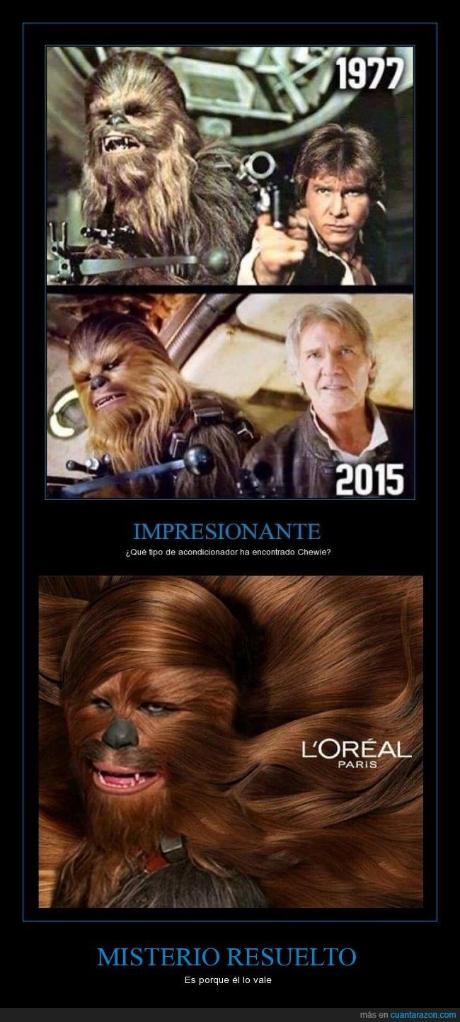 acondicionador,Chewbacca,chewie,han solo,l'oreal,pantoja,star wars