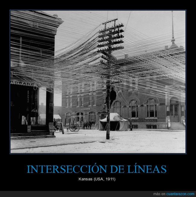 cables,intersección,Kansas,línea,locura,poste,telefónicas,telefono,trabajador,USA