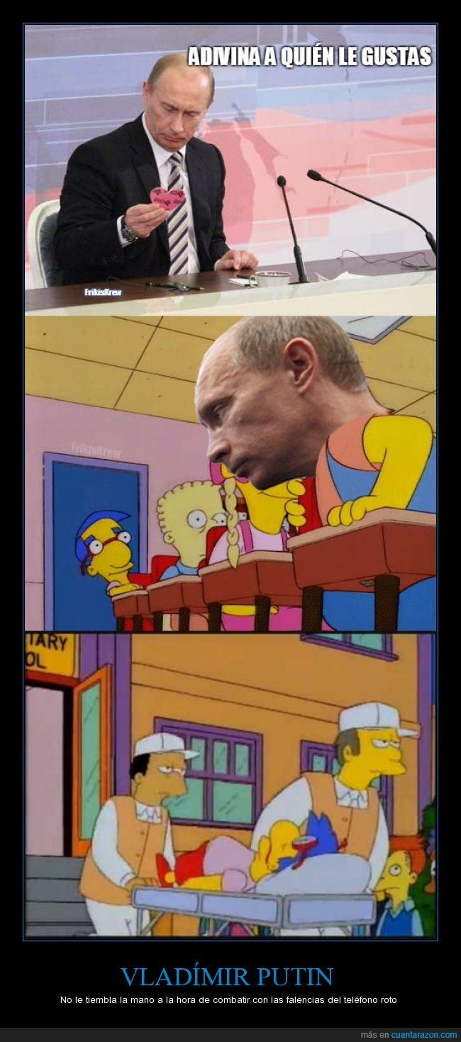 combatir,gay amor,milhouse van houten,teléfono roto,Vladímir Putin