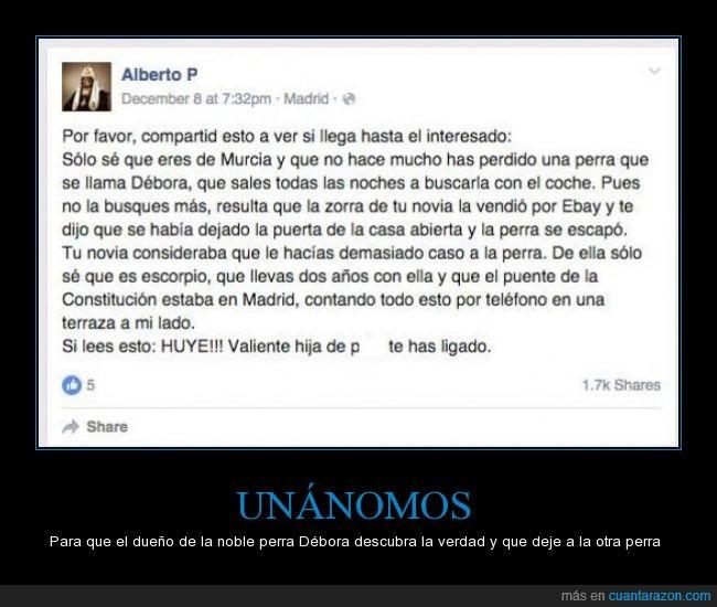 Debora,dueño,Ebay,hombre,Madrid,mujer malvada,novia,perra,perrito,perro,puente,vender