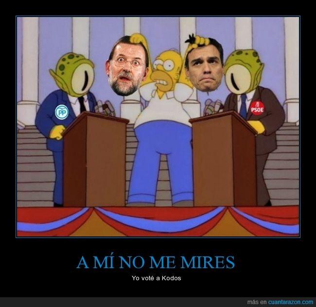 homer,kang,kodos,los simpson,Mariano Rajoy,Pedro Sanchez,pp,psoe