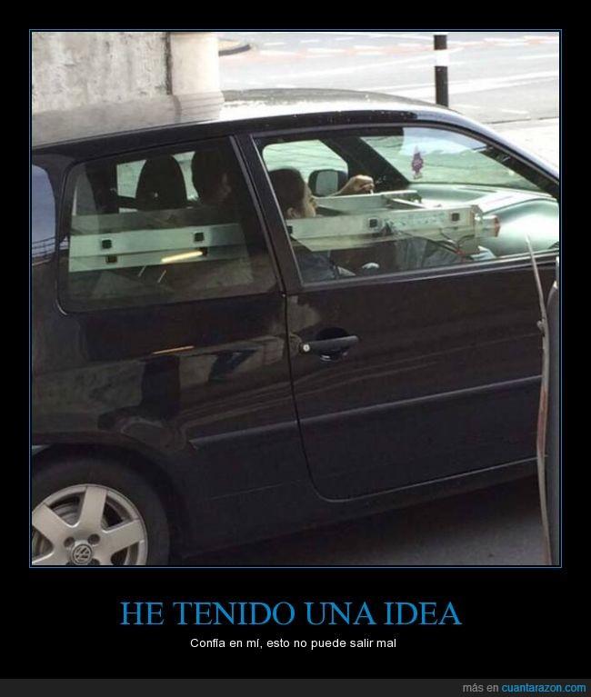 cabeza,chica,coche,conductor,dentro,escalera,peligro