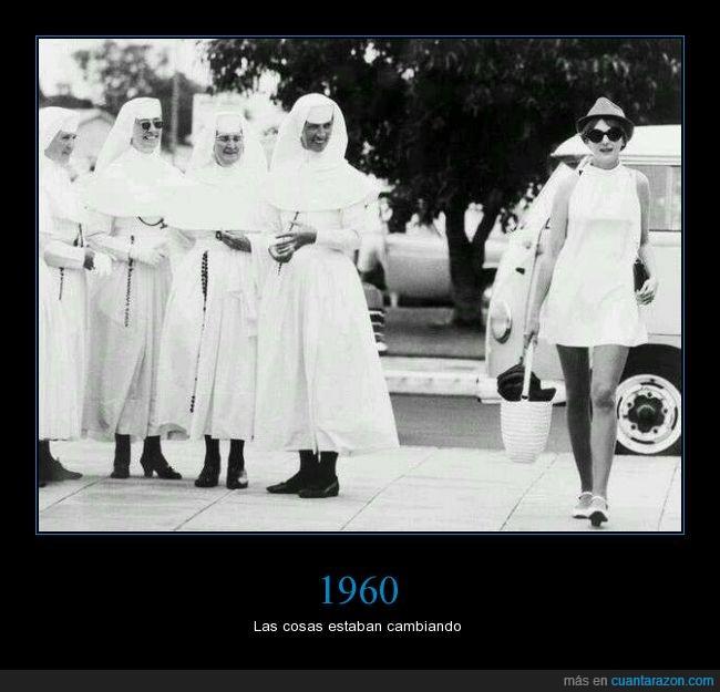 blanco,chica,contrastes,minifalda 1960,Monjas,ropa,sesenta,vestido
