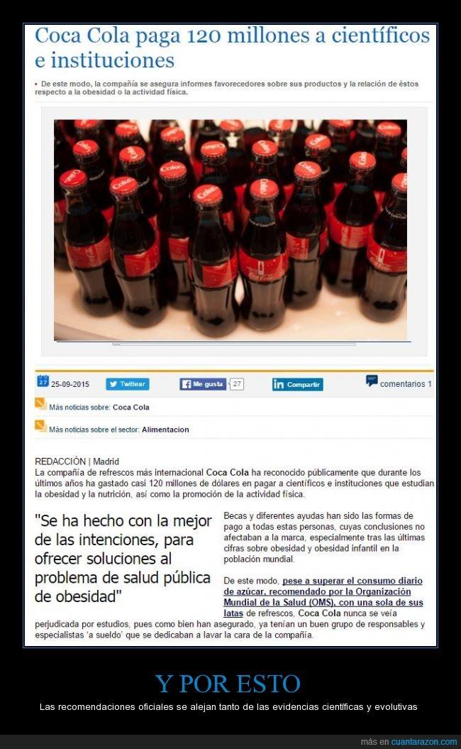 CocaCola,España,fomentan el consumo de hidratos para que sus bebidas sean más adictivas,los médicos deberían informarse mejor,organización de la salud,pirámide alimenticia