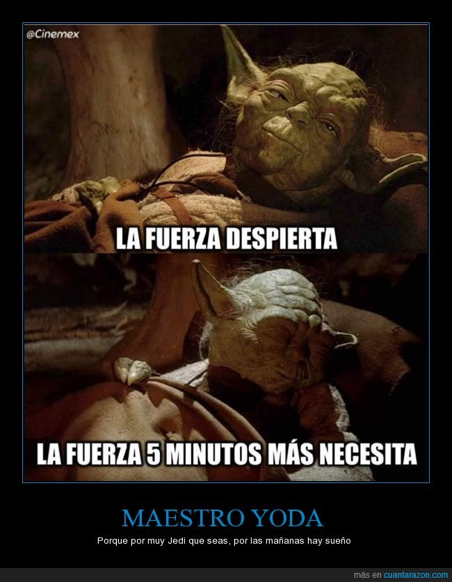 5,cinco,despertar,dormir,fuerza,minutitos,minutos,Star Wars,Yoda
