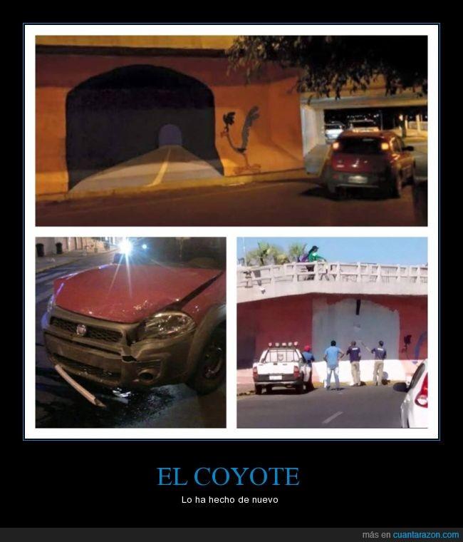 correcaminos,coyote,el coche no lo logró,el truco de pintar la pared,trampantojo