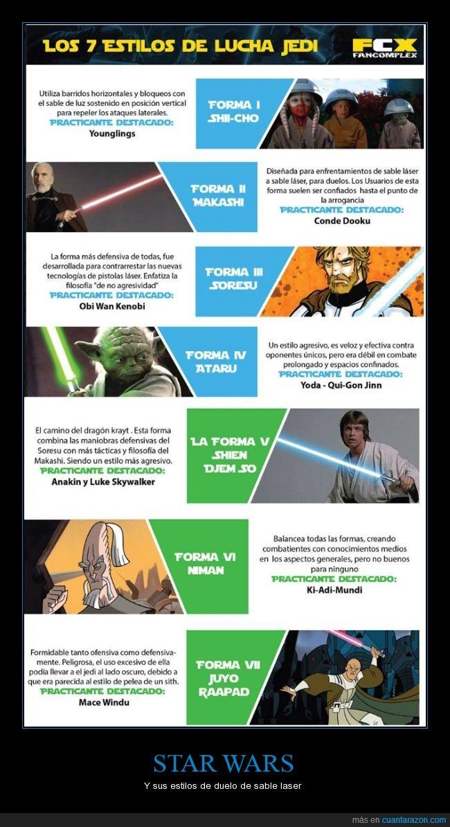 Dooku,duelo laser,estilos,Luke Skywalker,Mace Windu,Obi Wan,padawan,star wars,Yoda